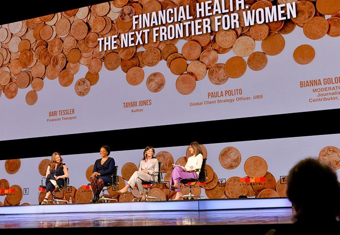 Bari Tessler, Financial Therapist, Author of The Art of Money, Tayari Jones, Author, Paula Polito, Global Client Strategy Officer and Group Managing Director, Global Wealth Management, UBS Financial Services Inc. and Bianna Golodryga, Journalist and CNN Contributor, 'WHY FINANCIAL HEALTH IS THE NEXT FRONTIER FOR WOMEN' at The 2019 Women In The World Summit in New York City; 4/11/2019